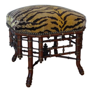 19th Century Brighton Style Faux Bamboo Ottoman For Sale
