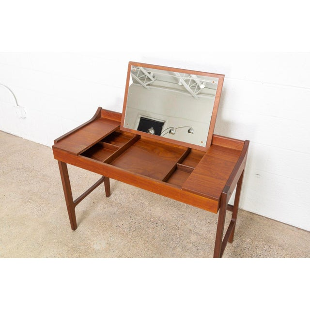 Brown Danish Modern Teak Vanity Table For Sale - Image 8 of 12