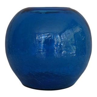 1960s Mid-Century Modern Turquoise Blue Blenko Crackle Glass Sphere Vase For Sale