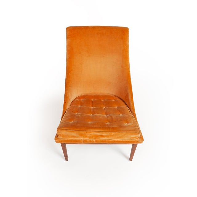 "Wood Vintage Original Lawrence Peabody ""Slipper Chair"" for Richardsons / Nemschoff — Pair For Sale - Image 7 of 12"