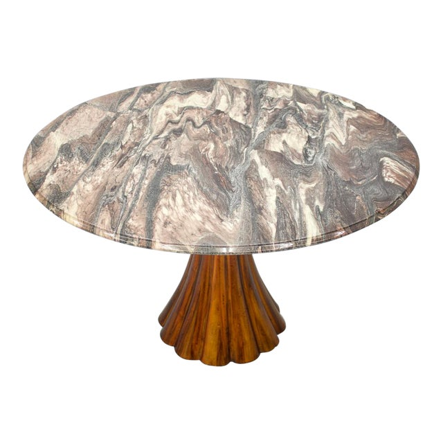 Fantastic Tulip Marble Dining Table Cast Metal Italy 1960s For Sale