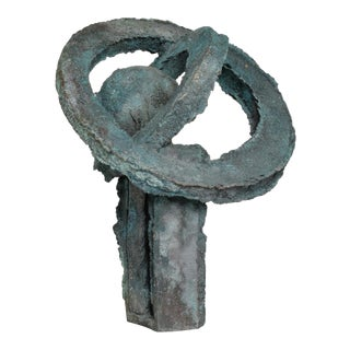 Myrna M Nobile Abstract Bronze Sculpture in Walnut Wood Base For Sale