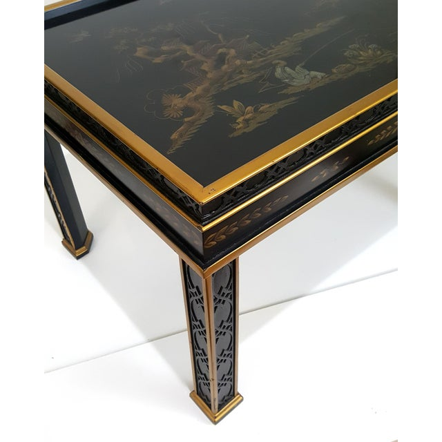 1980s Chinoiserie Drexel Hand-Painted Black Lacquer Side Table For Sale - Image 9 of 13