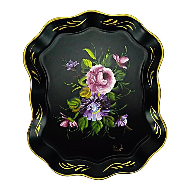 Vintage Hand Painted Floral Tray by Nashco Products - Image 1 of 6