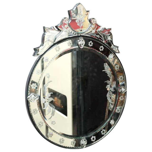 Venetian Style Decorative Round Wall Mirror For Sale