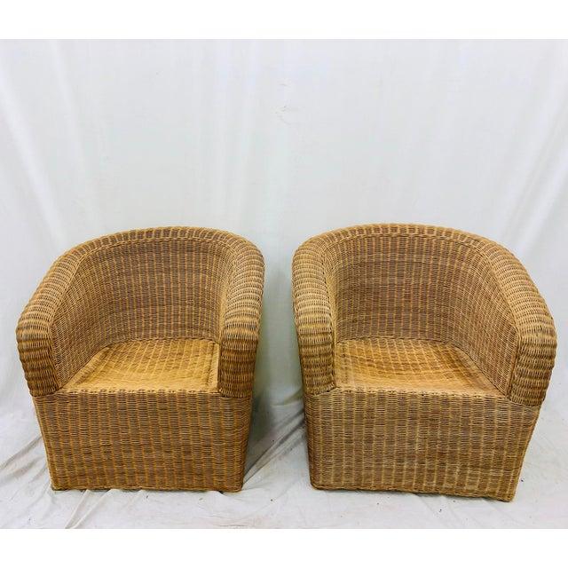 Pair Vintage Mid Century / Post Modern Eero Aarnio for Asko / Isamu Kenmochi Style Sculptural Woven Wicker Club Chairs....