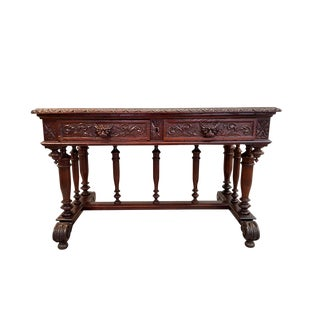 Antique Jacobean Carved Solid Oak Two Drawer Writing Desk Foyer Table For Sale
