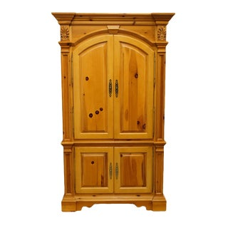 "20th Century French Country Lexington Furniture Solid Pine 48"" Tv Media Armoire For Sale"