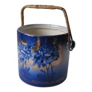 Vintage Victoria Ware Blue & Gold Biscuit Jar With Wicker Handle For Sale