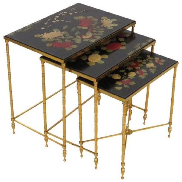 Custom Brass Bamboo Form Chinoiserie Nesting Tables For Sale In Philadelphia - Image 6 of 6