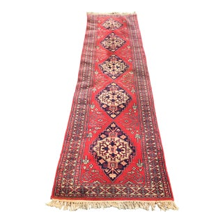 Vintage Red Wool Rug- 2′5″ × 9′11″ For Sale