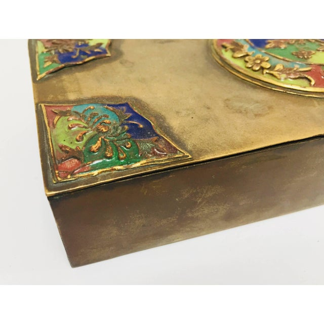 Brass Art Deco Lidded Box With Enameled Decoration For Sale - Image 12 of 13
