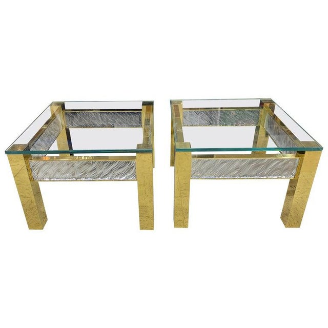 Pair of Modern Italian Murano Glass and Brass End Tables For Sale - Image 9 of 9