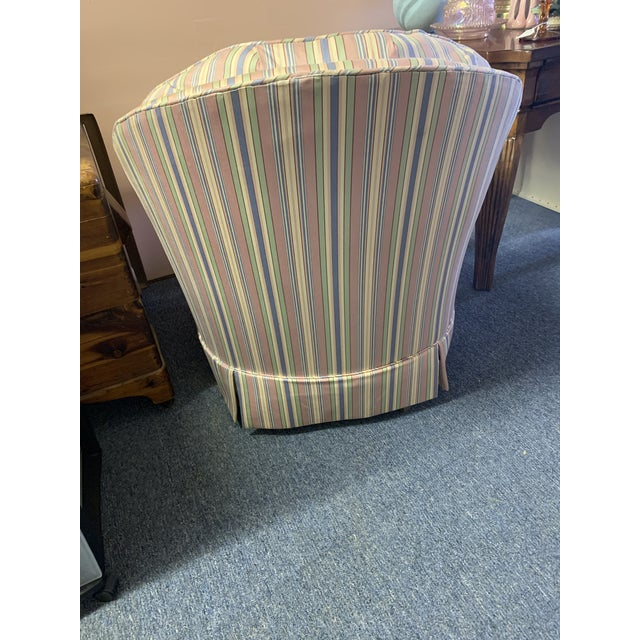 Mid-Century Modern Mid-Century Tufted Chintz Swivel Rocking Chair For Sale - Image 3 of 7