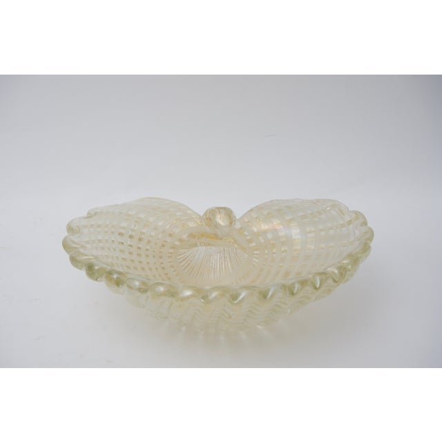 Mid 20th Century Large Scale Clam Shell Murano Glass Dish by Barovier E Toso For Sale - Image 5 of 8