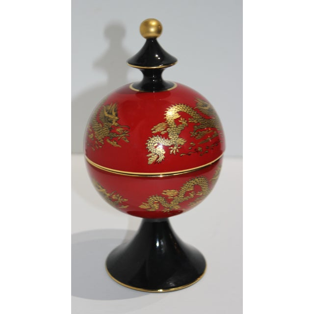 Chinese Mid-Cnntury Chinese Emperor Dragon Motif Red Footed Round Box From Heygill Italy For Sale - Image 3 of 9