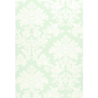 Sample - Schumacher Tierni Damask Wallpaper in Robin's Egg For Sale