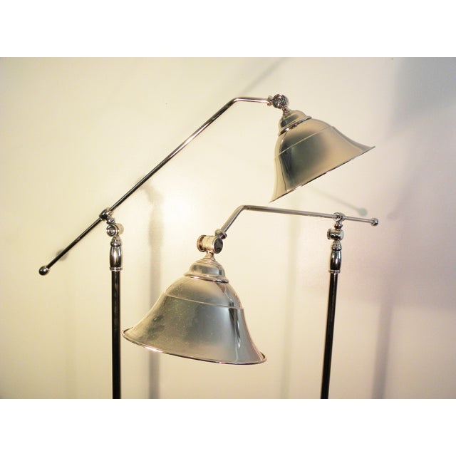 Vintage Swing-Arm Chrome Floor Lamps - A Pair - Image 7 of 9