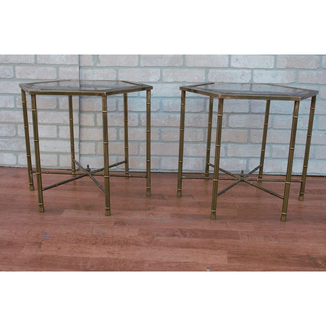 Mid-Century Modern 1970s Mid Century Modern Mastercraft Faux Bamboo Side Tables - A Pair For Sale - Image 3 of 10