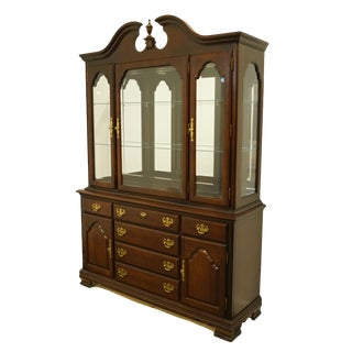 1990s Traditional Kincaid Furniture / Solid Cherry / Cherry Mountain III Buffet With Lighted China Cabinet For Sale