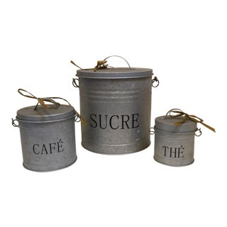Galvanized Cannisters in French - Set of 3 For Sale