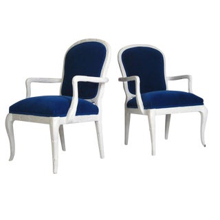 Serge Roche Style Cobalt Mohair Chairs - A Pair For Sale