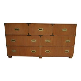 Mid-Century Modern Baker Campaign Style 7-Drawer Bleached Mahogany Dresser For Sale