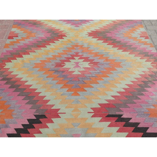 "Vintage Turkish Kilim Rug - 5'9"" X 9'3"" For Sale In Raleigh - Image 6 of 11"