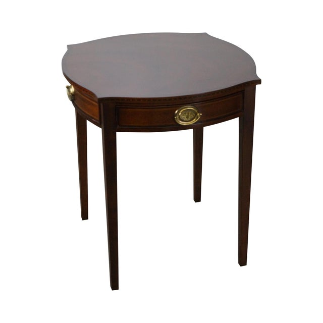 Kindel Winterthur Collection Mahogany Inlaid Hepplewhite Style Occasional Table (A) For Sale - Image 11 of 11