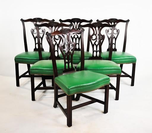 green upholstered chairs. Green Vinyl Upholstered Chippendale Dining Chairs - Set Of 6 Image 2 10 G