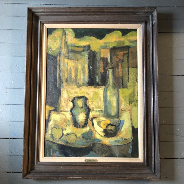 Blue Vintage Original Modernist Still Life Painting 1950's For Sale - Image 8 of 8