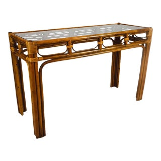 Vintage Rattan Bamboo Console Table For Sale