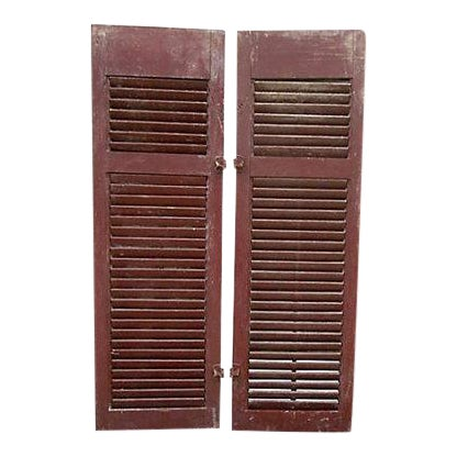 Primitive Red Shutters - A Pair For Sale