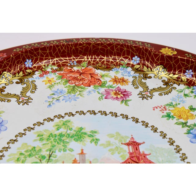 Metal Vintage Chinoiserie Tole Floral Red and Gold Circular Tray For Sale - Image 7 of 12