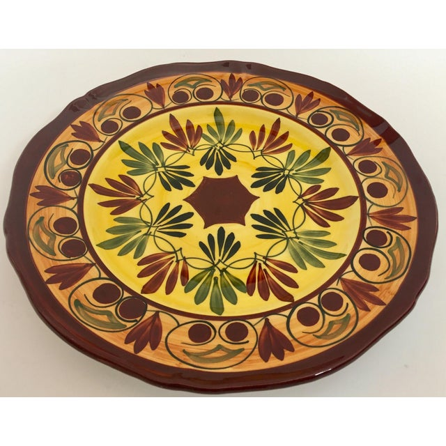 1950s French Polychrome Hand Painted Ceramic Decorative Plate For Sale - Image 5 of 12