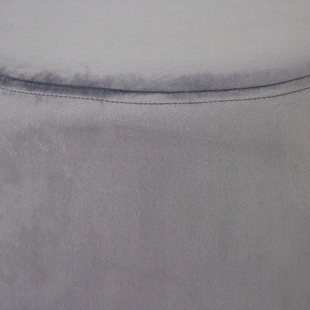 Modern Spur Pale Blue Velvet Stool in Sky Blue For Sale - Image 3 of 5