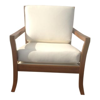 Modern Leather & Zembrano Finish Lounge Chair For Sale