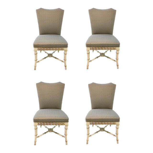 Century Furniture Greek Key Carved Dining Chairs Set of Four For Sale