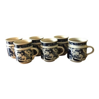 1970s Mid-Century Modern Taylor & Ng Barrel Mugs - Set of 6