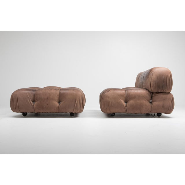 Mario Bellini Camaleonda Lounge Chairs in Original Brown Leather by Mario Bellini - 1970s For Sale - Image 4 of 11
