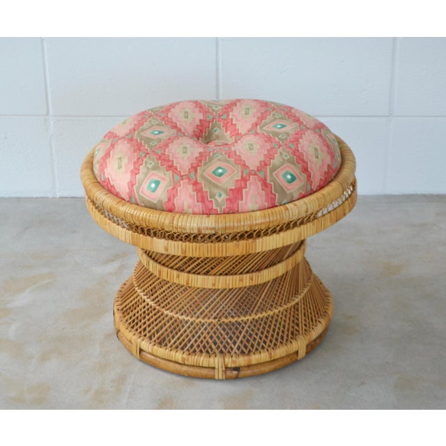 Mid-Century Woven Rattan Stool For Sale - Image 4 of 10