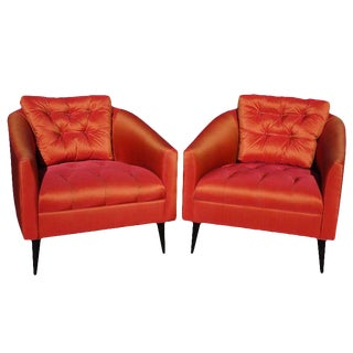 Mid-Century Modern Satin Chairs - a Pair For Sale