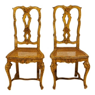 Venetian Painted Side Chairs, Circa 1880, a Pair For Sale