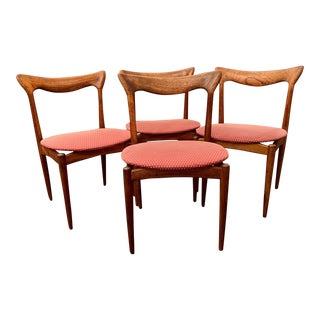 H. W. Klein Sculpted Back Dining Chairs of Walnut- Set of 4 For Sale