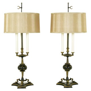 Elegant Pair of Empire Table Lamps in Black Lacquer and Gold Leaf For Sale