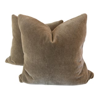 """Mushroom Mohair 22"""" Pillows - A Pair"""