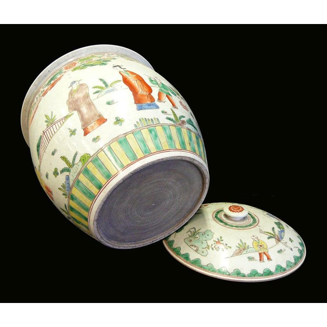 Chinese Porcelain Color People Gathering Scenery Pot For Sale In San Francisco - Image 6 of 7