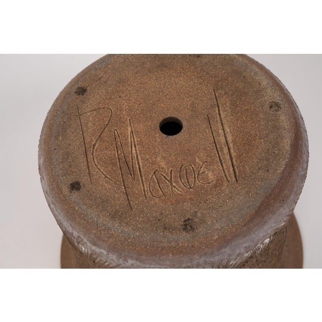 Robert Maxwell Incised Studio Pottery Planter with Flared Lip For Sale - Image 10 of 12