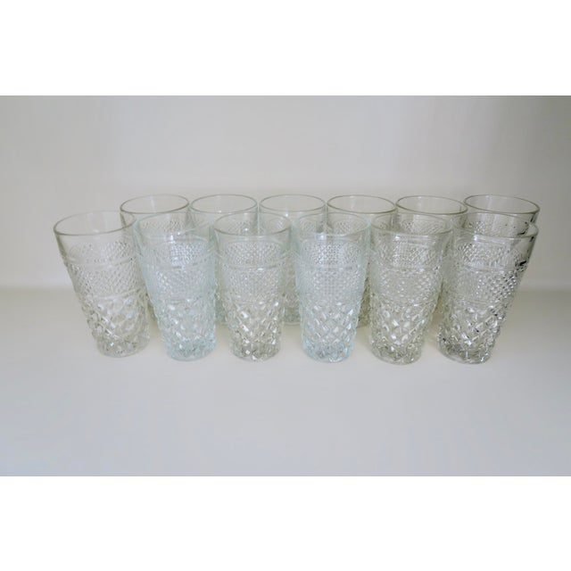 Anchor Hocking Vintage Anchor Hocking Wexford Clear Glass Crystal Tall Drinking Water Glasses Set of 12 For Sale - Image 4 of 4