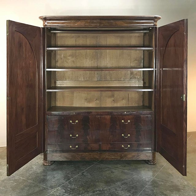 Brown 19th Century French Louis Philippe Period Burl Mahogany Armoire For Sale - Image 8 of 12